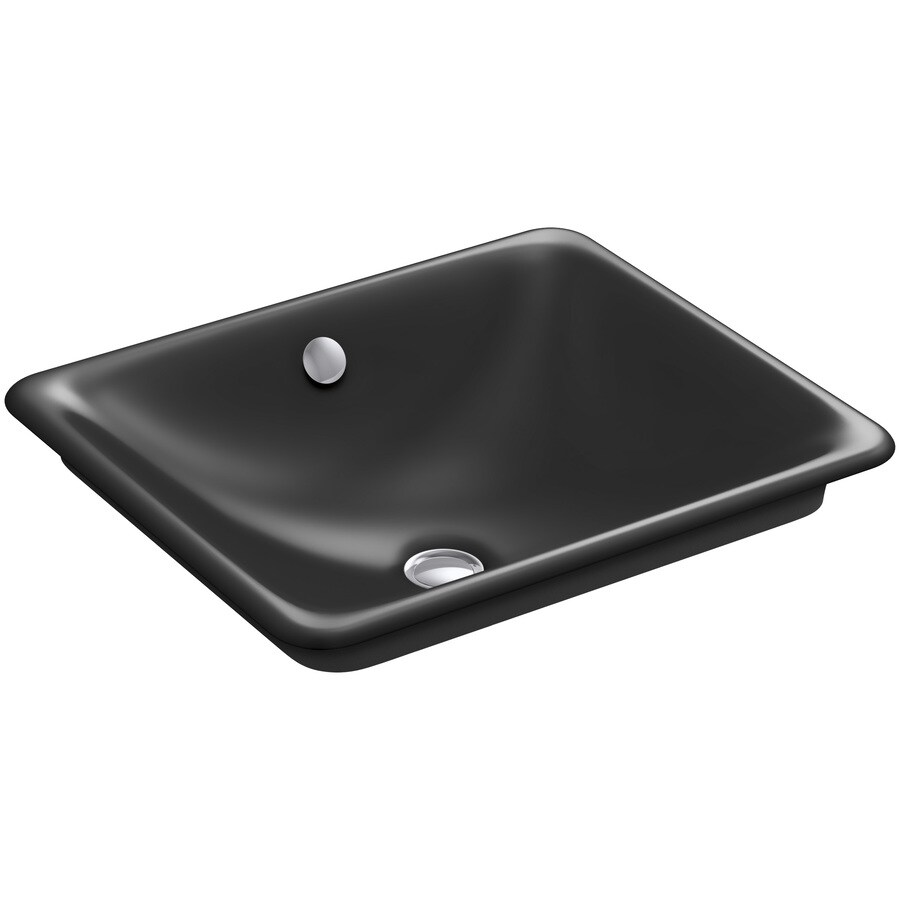 KOHLER Iron Plains Black Black Cast Iron Vessel Rectangular Bathroom Sink