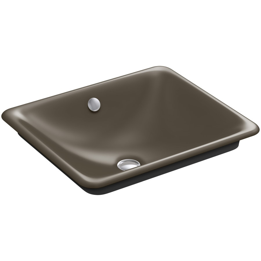 KOHLER Iron Plains Suede Cast Iron Vessel Rectangular Bathroom Sink with Overflow
