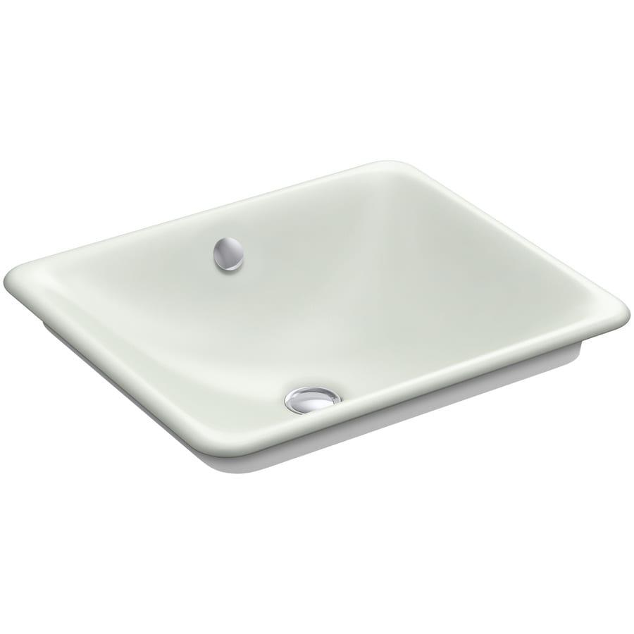 KOHLER Iron Plains Sea Salt Cast Iron Vessel Rectangular Bathroom Sink with Overflow