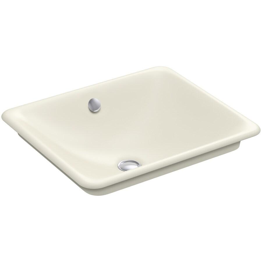 KOHLER Iron Plains Biscuit Cast Iron Vessel Rectangular Bathroom Sink with Overflow