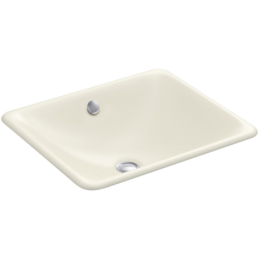Shop Kohler Iron Plains Biscuit Cast Iron Drop In Or Undermount Rectangular Bathroom Sink With