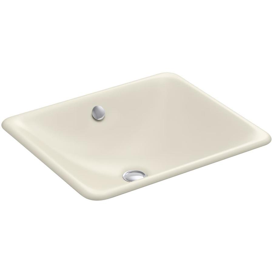 KOHLER Iron Plains Almond Cast Iron Drop-in or Undermount Rectangular Bathroom Sink with Overflow