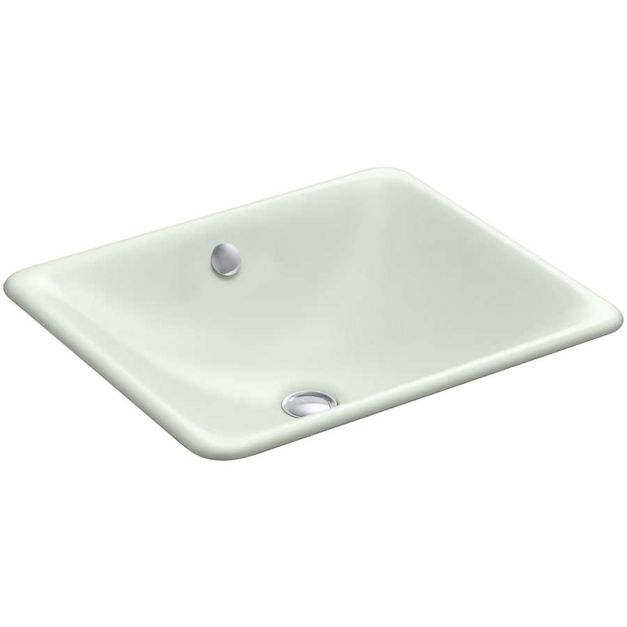 Shop kohler iron plains sea salt cast iron drop in or undermount rectangular bathroom sink with Kohler cast iron bathroom sink