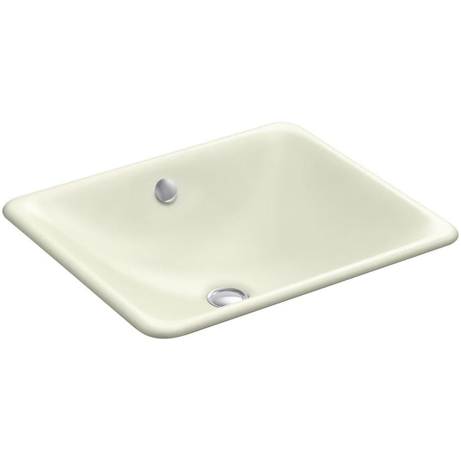 KOHLER Iron Plains Cane Sugar Cast Iron Drop-in or Undermount Rectangular Bathroom Sink with Overflow