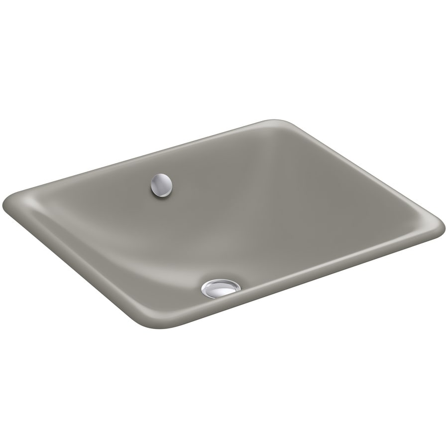 Shop kohler iron plains black 39 n tan cast iron undermount rectangular bathroom sink at Kohler cast iron bathroom sink