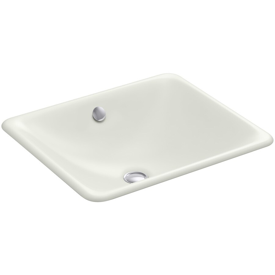 KOHLER Iron Plains Dune Cast Iron Drop-in or Undermount Rectangular Bathroom Sink with Overflow