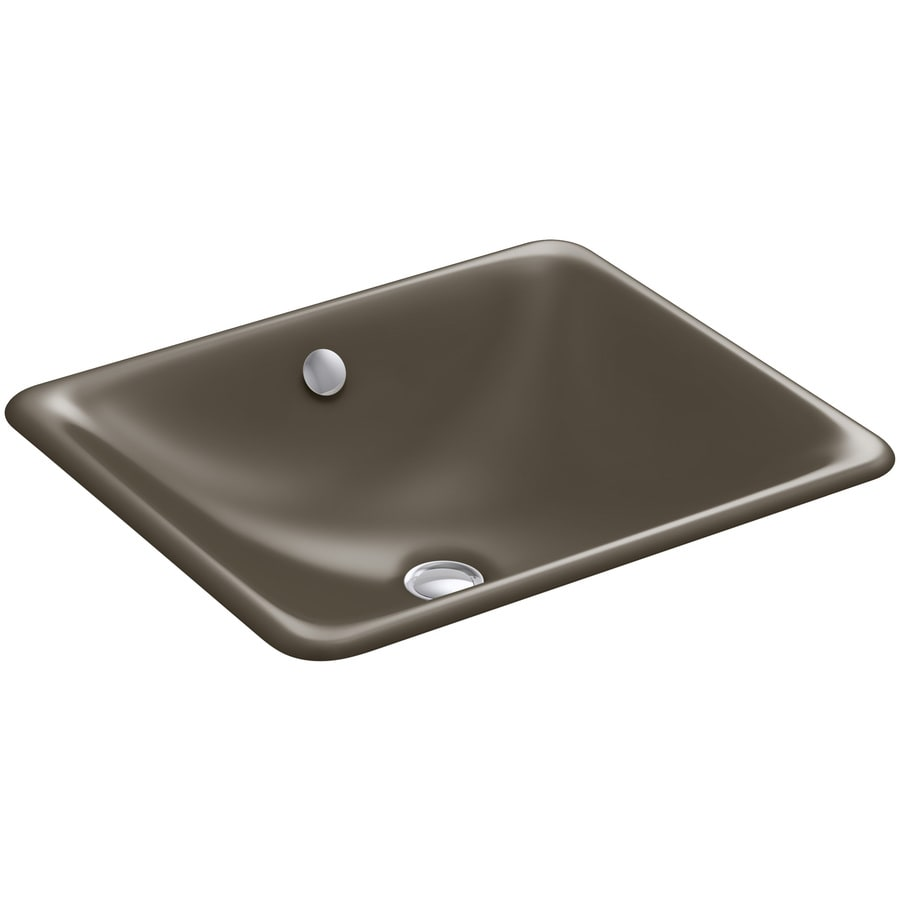 Shop Kohler Iron Plains Suede Cast Iron Drop In Or Undermount Rectangular Bathroom Sink With