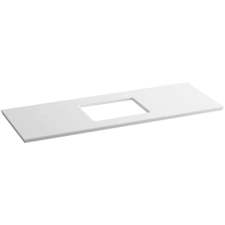 KOHLER Solid/Expressions White Expressions Solid Surface Bathroom Vanity Top (Common: 61-in x 23-in; Actual: 61.625-in x 22.8125-in)