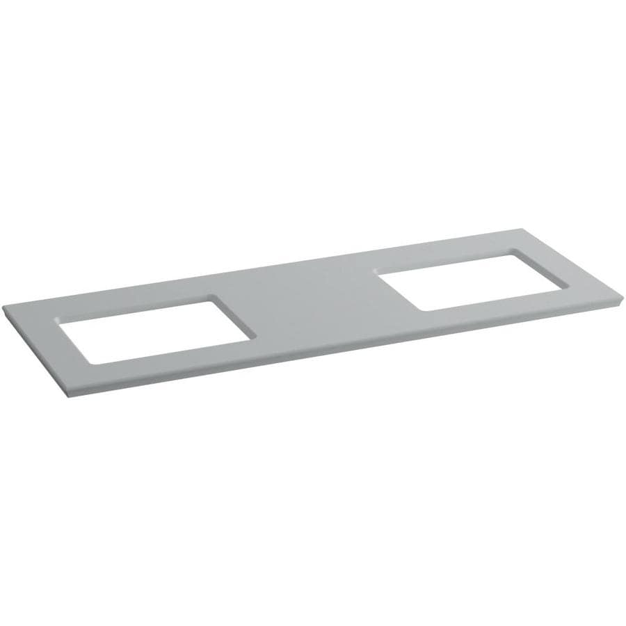 KOHLER Solid/Expressions Ice Grey Expressions Solid Surface Sink Sold Separately Bathroom Vanity Top (Common: 61-in x 23-in; Actual: 61.625-in x 22.8125-in)