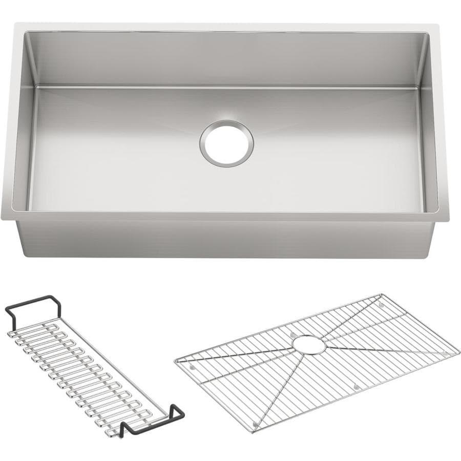KOHLER 18.3125-in x 35-in Stainless Steel Single-Basin Undermount Residential Kitchen Sink Drainboard Included