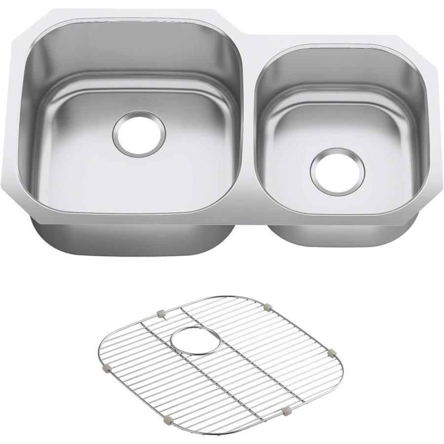 KOHLER Undertone Perserve 20.125-in x 35.125-in Stainless Steel Single-Basin-Basin Stainless Steel Undermount (Customizable)-Hole Residential Kitchen Sink
