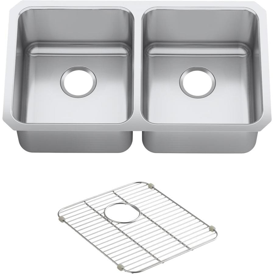 KOHLER Undertone Perserve 18-in x 31.5-in Double-Basin Stainless Steel Undermount Residential Kitchen Sink