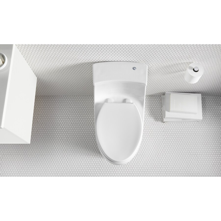 KOHLER San Souci 1.28 White WaterSense Compact Elongated Chair Height 1-Piece Toilet