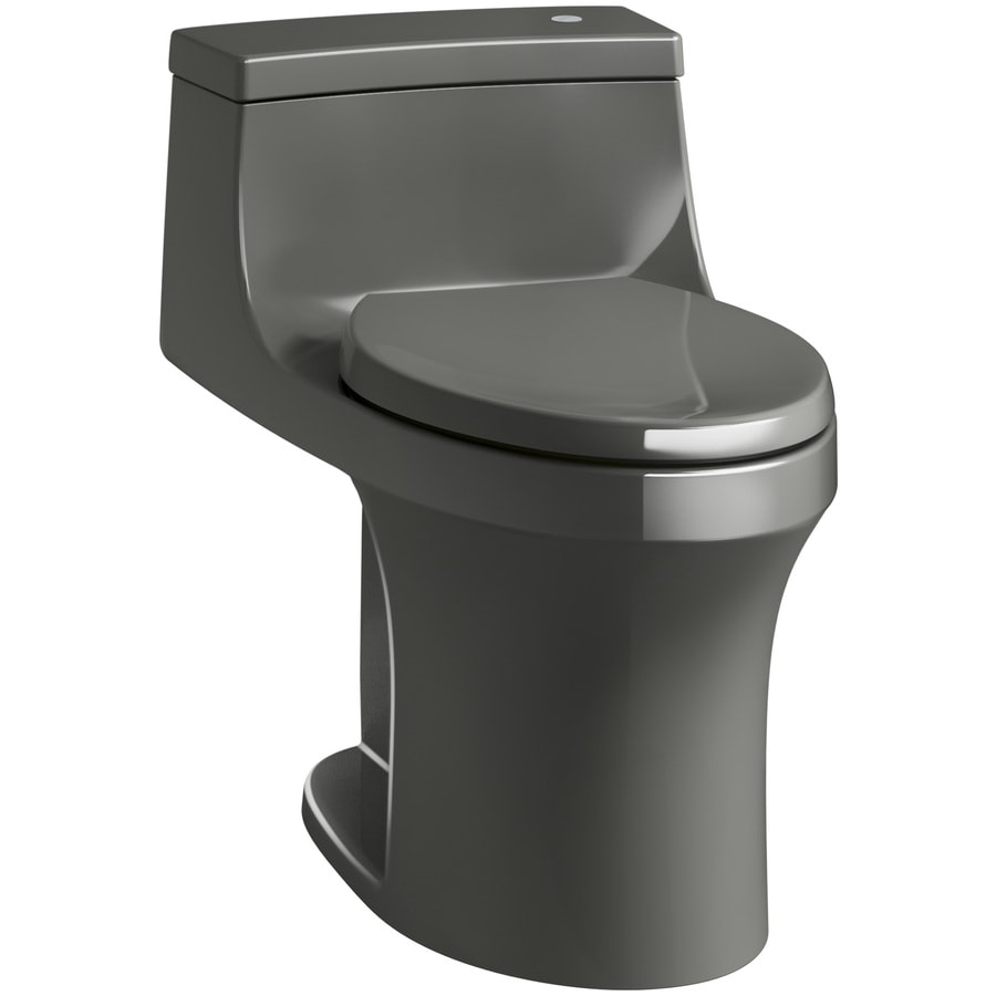 KOHLER San Souci 1.28-GPF (4.85-LPF) Thunder Gray WaterSense Compact Elongated Chair Height 1-Piece Toilet