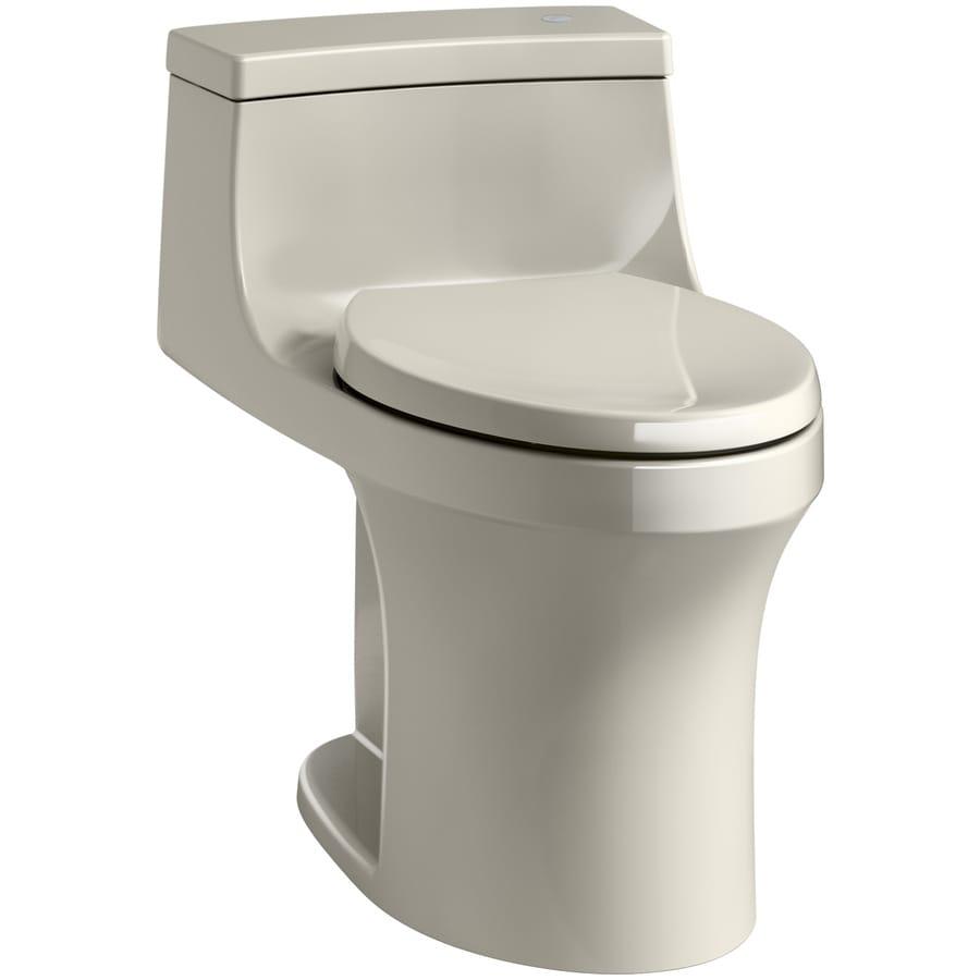 KOHLER San Souci 1.28-GPF (4.85-LPF) Sandbar Touchless Compact Elongated Chair Height 1-piece Toilet