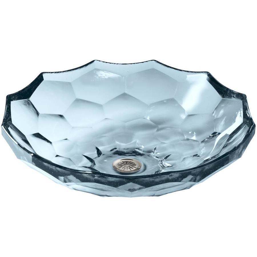 KOHLER Artist Editions Briolette Translucent Dusk Glass Vessel Round Bathroom Sink