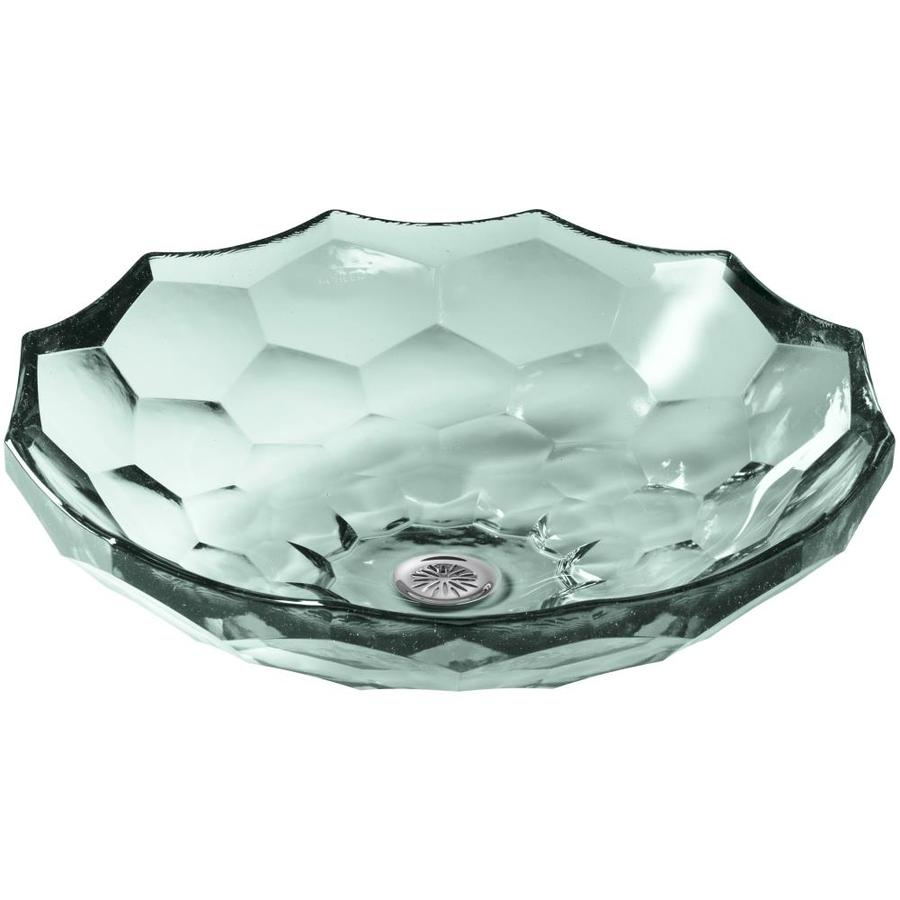 KOHLER Artist Editions Briolette Translucent Dew Glass Vessel Round Bathroom Sink