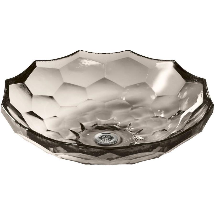 KOHLER Artist Editions Briolette Translucent Doe Glass Vessel Round Bathroom Sink