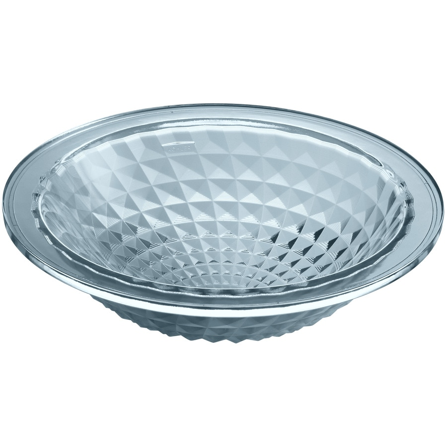 KOHLER Artist Editions Kallos Translucent Dusk Glass Drop-in Round Bathroom Sink