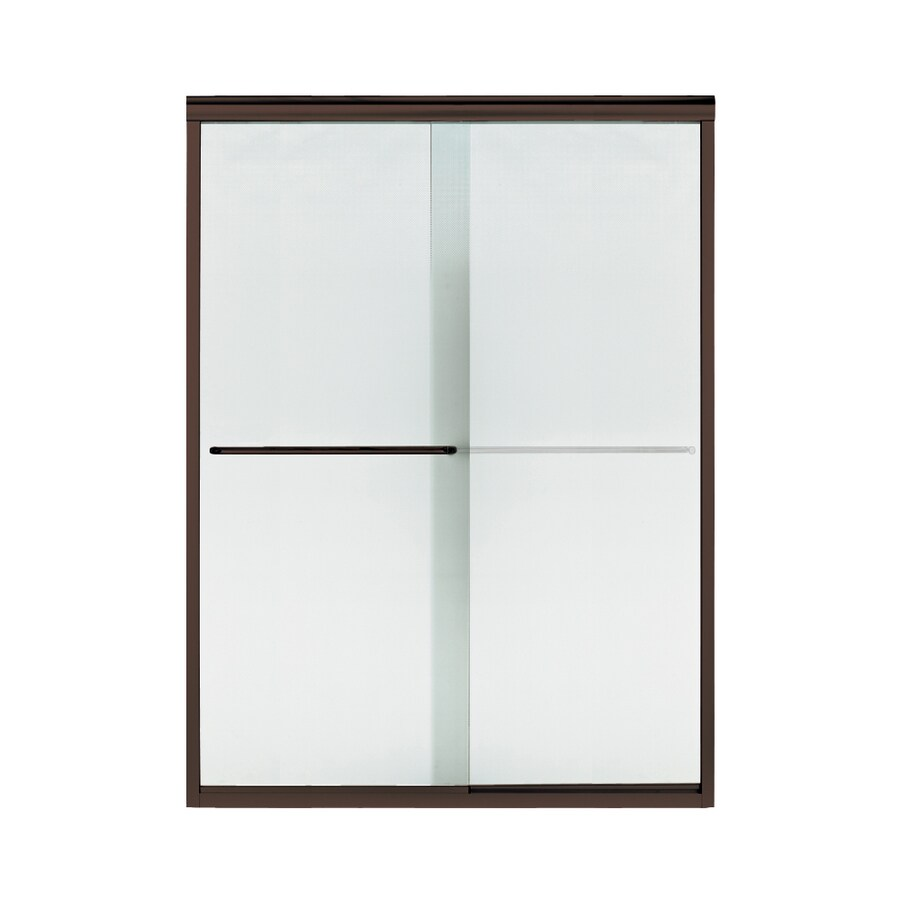 Sterling Finesse 56-in to 57.5-in Frameless Deep bronze Sliding Shower Door