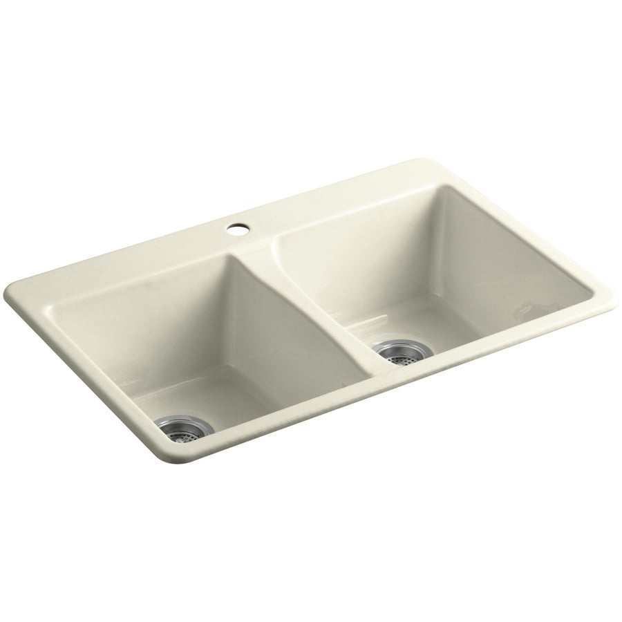 KOHLER Deerfield 22-in x 33-in Cane Sugar Double-Basin Cast Iron Undermount 1-Hole Residential Kitchen Sink