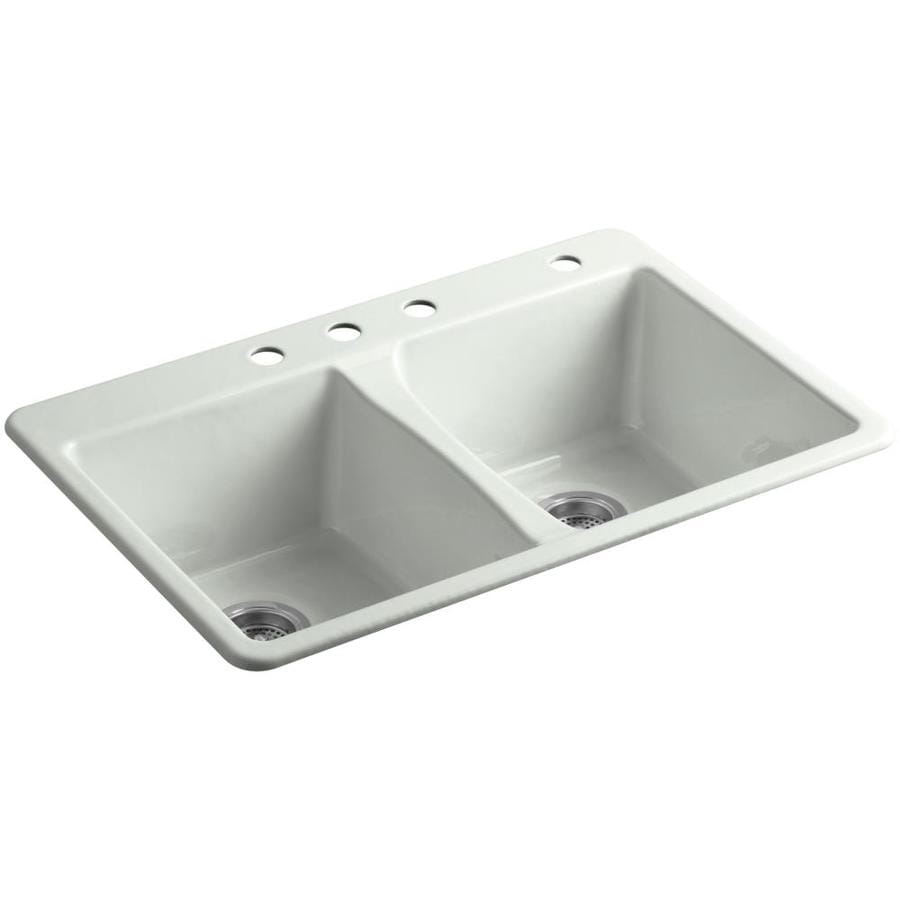 KOHLER Deerfield 22-in x 33-in Sea Salt Double-Basin Cast Iron Undermount 3-Hole Residential Kitchen Sink