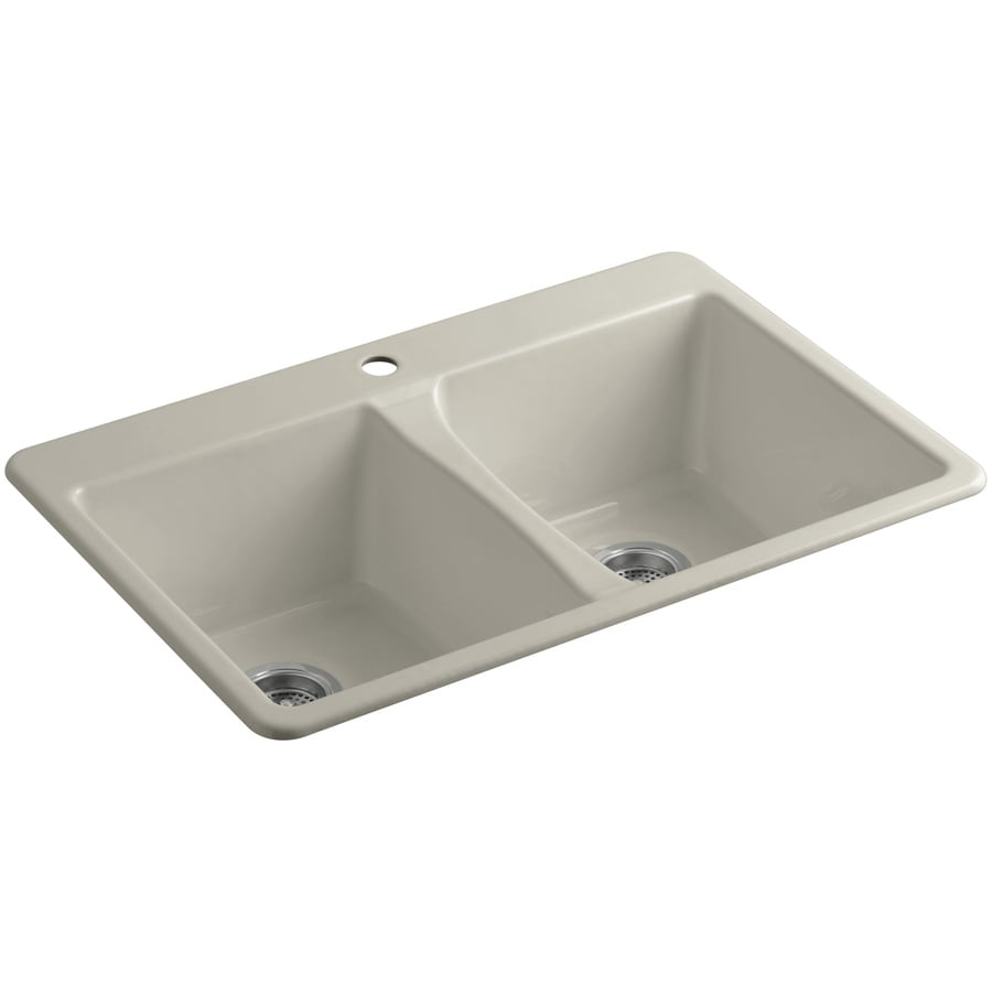 KOHLER Deerfield 22-in x 33-in Sandbar Double-Basin Cast Iron Undermount 1-Hole Residential Kitchen Sink