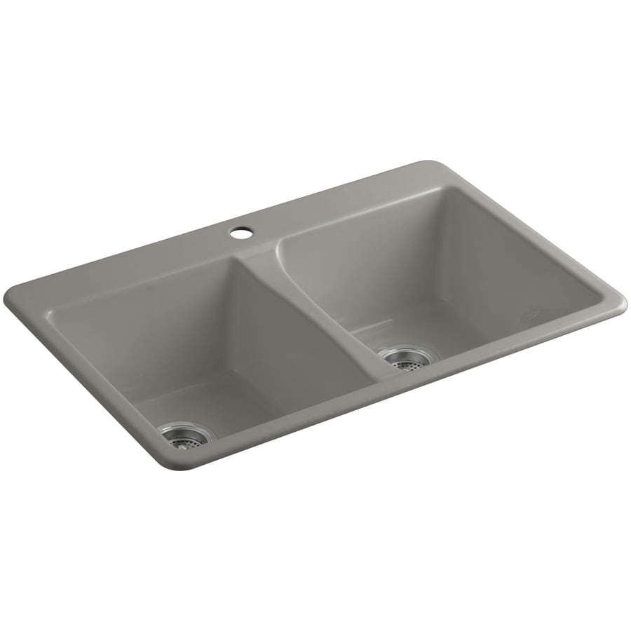 KOHLER Deerfield 22-in x 33-in Cashmere Double-Basin Cast Iron Undermount 1-Hole Residential Kitchen Sink