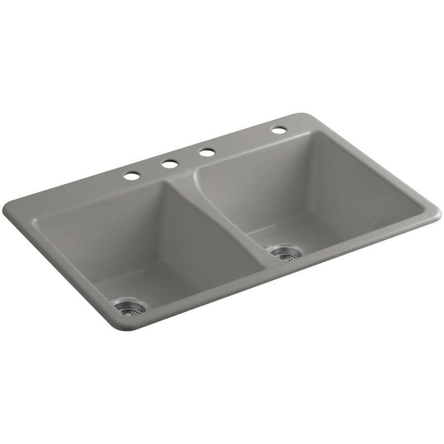 KOHLER Deerfield 22-in x 33-in Cashmere Single-Basin-Basin Cast Iron Drop-in 4-Hole Residential Kitchen Sink