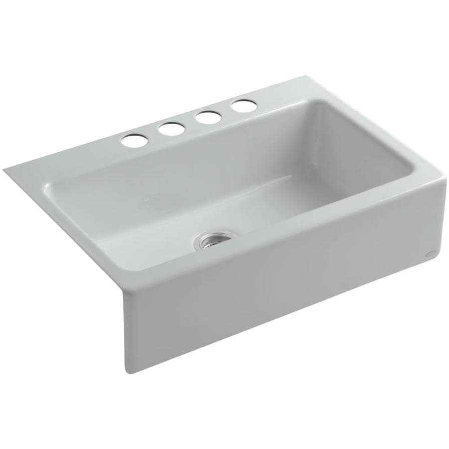 KOHLER Dickinson 22.12-in x 33-in Ice Grey Single-Basin-Basin Cast Iron Apron Front/Farmhouse 4-Hole Residential Kitchen Sink