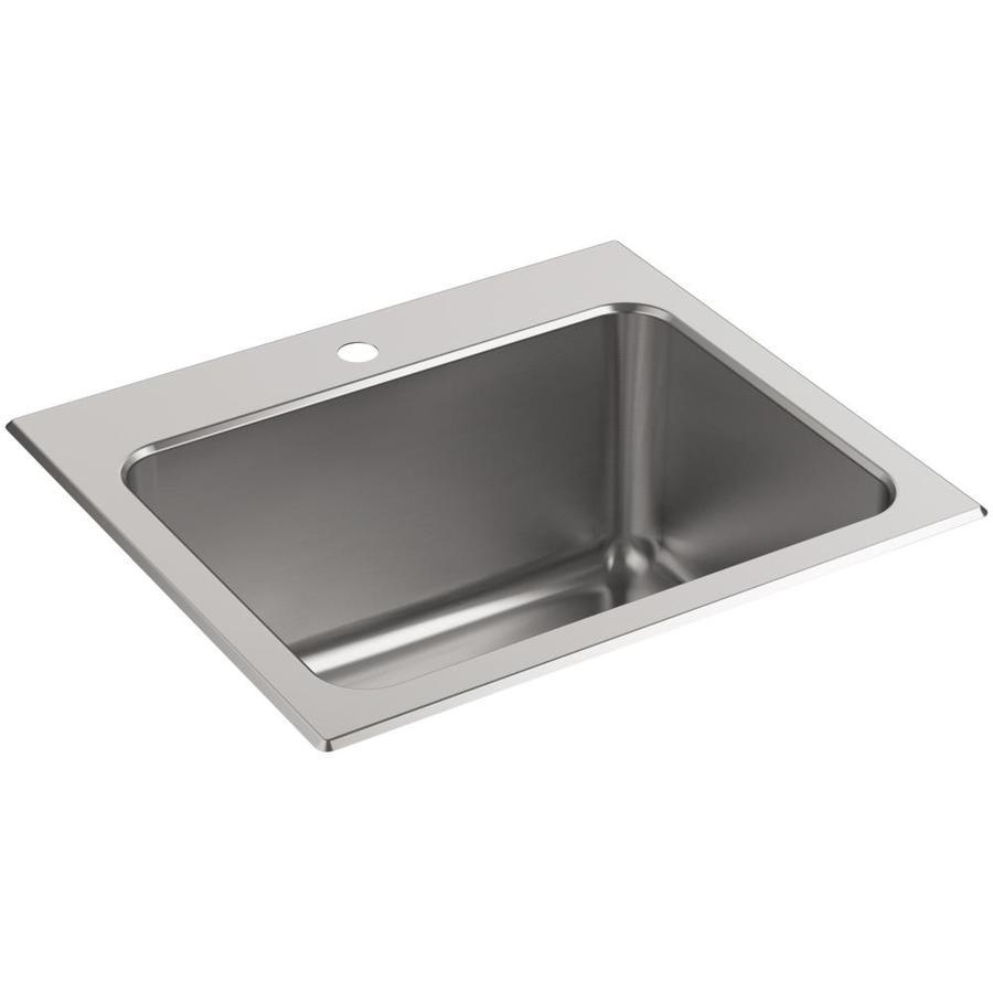 KOHLER 22-in x 25-in Self-Rimming Stainless Steel Utility Sink
