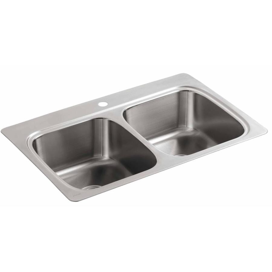 Shop KOHLER 22-in x 33-in Stainless Steel Double-Basin Drop-in 1-Hole ...