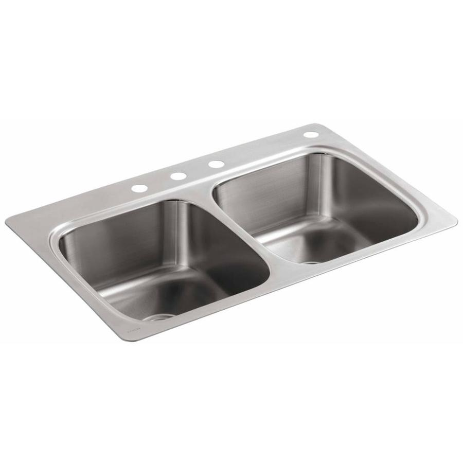 KOHLER 22-in x 33-in Double-Basin Stainless Steel Drop-in 4-Hole Residential Kitchen Sink