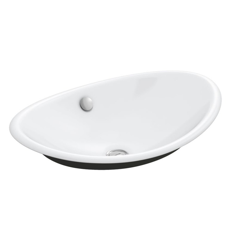 Shop kohler iron plains white cast iron vessel oval bathroom sink with overflow at Kohler cast iron bathroom sink