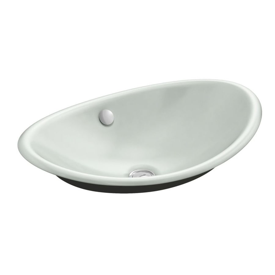KOHLER Iron Plains Sea Salt Cast Iron Vessel Oval Bathroom Sink with Overflow