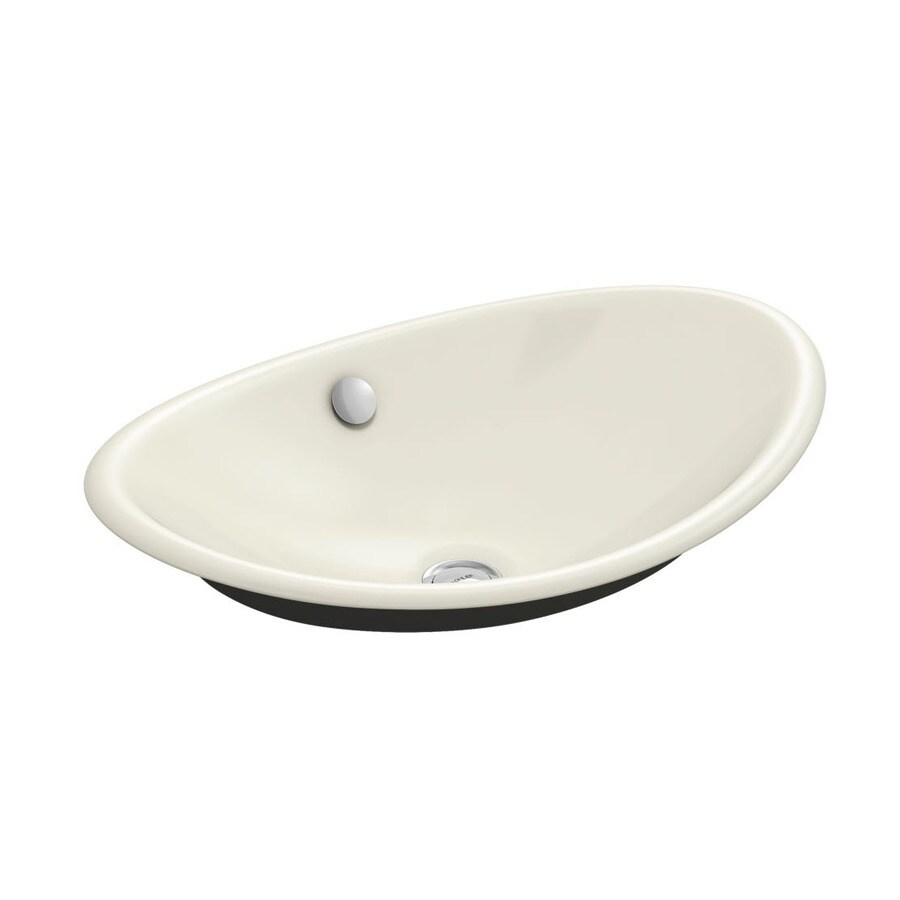 KOHLER Iron Plains Biscuit Cast Iron Vessel Oval Bathroom Sink with Overflow