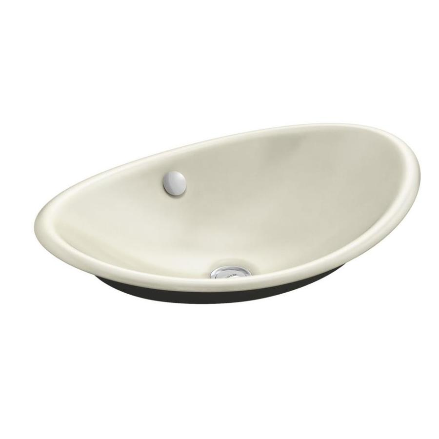 KOHLER Iron Plains Cane Sugar Cast Iron Vessel Oval Bathroom Sink with Overflow