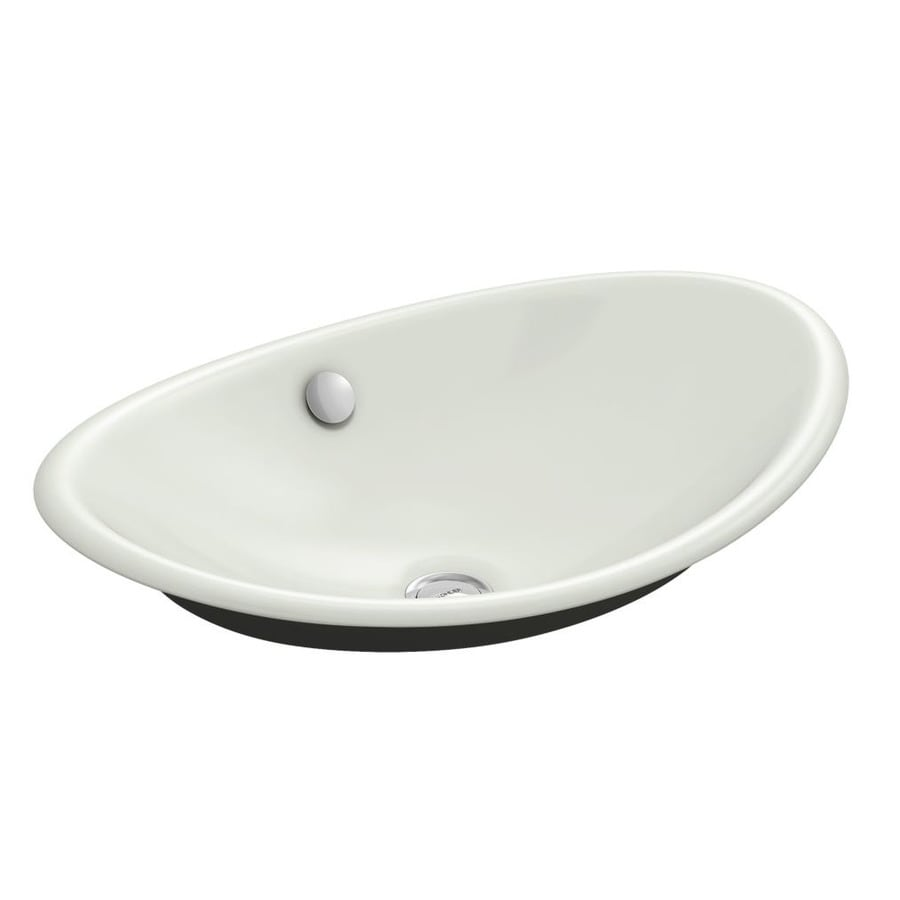 Shop Kohler Iron Plains Dune Cast Iron Vessel Oval Bathroom Sink With Overflow At