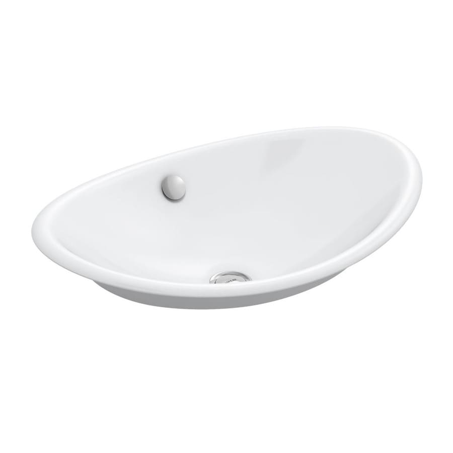 KOHLER Iron Plains White Cast Iron Vessel Oval Bathroom Sink with Overflow