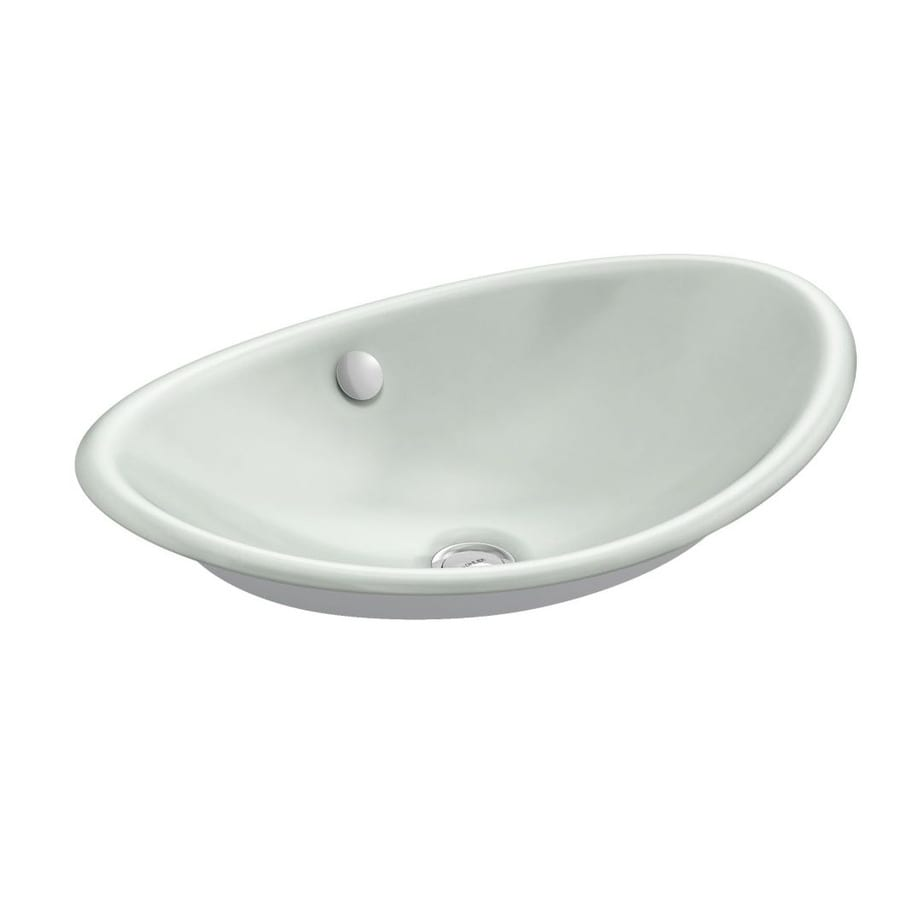Shop kohler iron plains sea salt cast iron vessel oval bathroom sink with overflow at Kohler cast iron bathroom sink