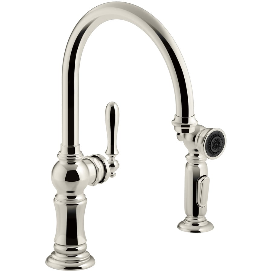 KOHLER Artifacts Vibrant Polished Nickel 1-Handle High-Arc Kitchen Faucet with Side Spray