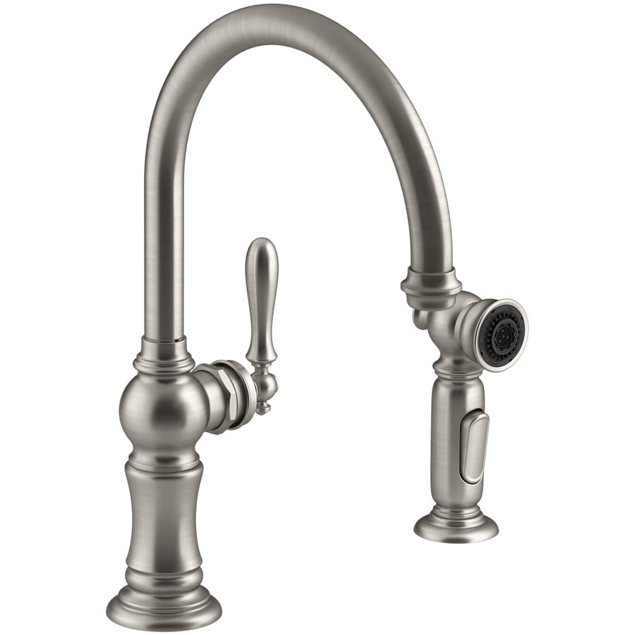 KOHLER Artifacts Vibrant Stainless 1-Handle High-Arc Kitchen Faucet with Side Spray