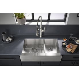 Kohler Tailor Farmhouse Apron Front 29 5 In X 21 25 In Double Offset Bowl Kitchen Sink In The Kitchen Sinks Department At Lowes Com