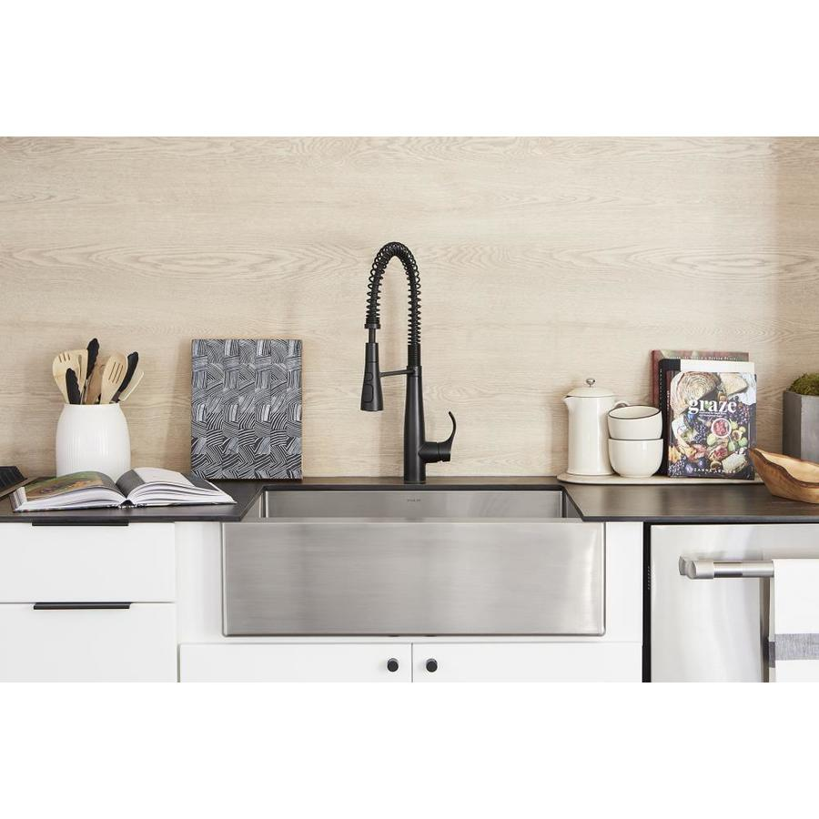 KOHLER Strive 21.25-in x 29.5-in Stainless Steel Single-Basin-Basin Stainless Steel Apron Front/Farmhouse (Customizable)-Hole Residential Kitchen Sink