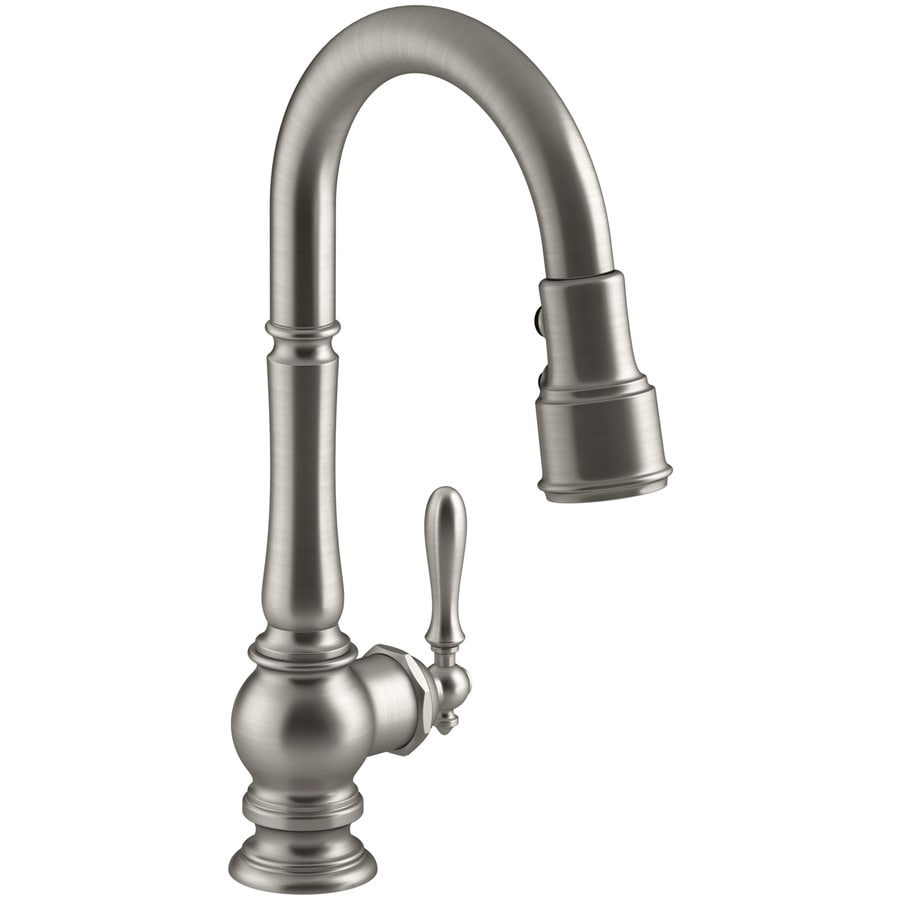Shop Kohler Artifacts Vibrant Stainless 1 Handle Pull Down Kitchen Faucet At