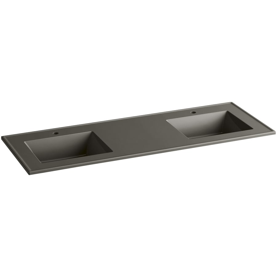 KOHLER Ceramic/Impressions Cashmere Impressions Vitreous China Integral Bathroom Vanity Top (Common: 61-in x 22-in; Actual: 61-in x 22.375-in)
