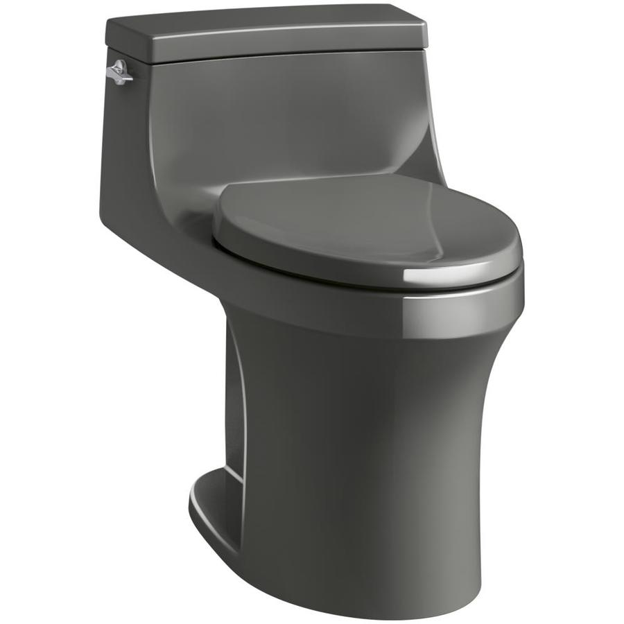 KOHLER San Souci 1.28 Thunder Grey WaterSense Compact Elongated Standard Height 1-Piece Toilet