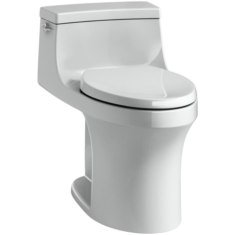 KOHLER San Souci 1.28 Ice Grey WaterSense Compact Elongated Standard Height 1-Piece Toilet