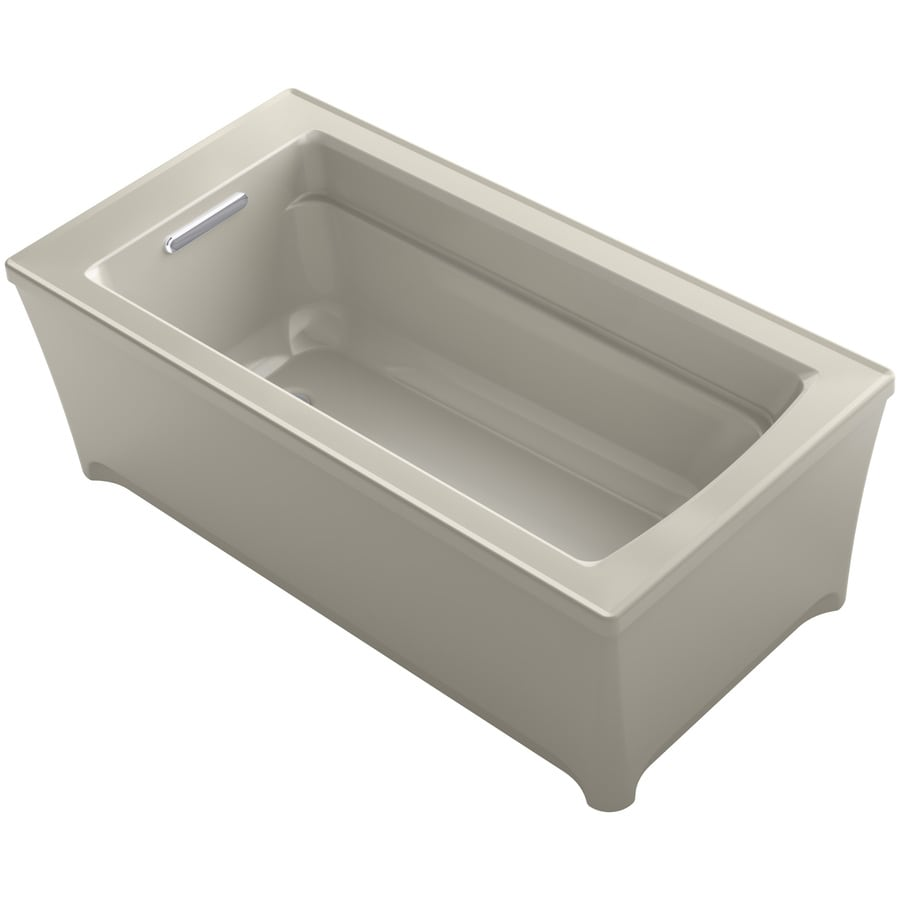 KOHLER Archer 61.75-in Sandbar Acrylic Freestanding Bathtub with Reversible Drain