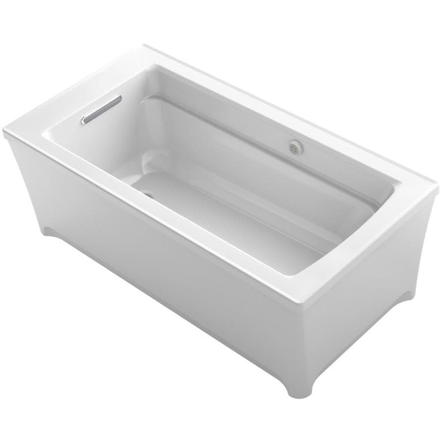 KOHLER Archer 61.75-in White Acrylic Freestanding Bathtub with Reversible Drain